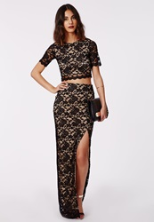 Missguided Thigh Split Lace Maxi Skirt Black