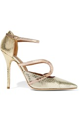 Malone Souliers Veronica Metallic Snake Pumps
