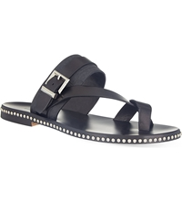 Louis Leeman Toe Strap Buckle Sandals Black