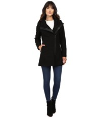 Calvin Klein Asymetrical Pu Trim Hooded Wool With Quilted Liner Black Women's Coat