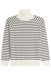 Marc Jacobs Striped Wool Turtleneck Pullover Brown