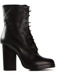 Jil Sander Chunky Heel Lace Up Boots Black