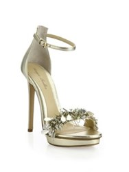 Monique Lhuillier Marlowe Embroidered Metallic Leather Sandals Silver Gold