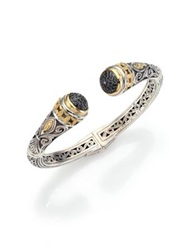 Konstantino Asteri Black Diamond 18K Yellow Gold And Sterling Silver Filigree Cuff Bracelet Silver Gold