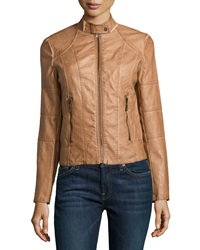 Max Studio Faux Leather Stand Collar Jacket Washed Cognac