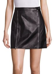 J Brand Claret Zip Detail Leather Skirt Black