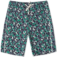 Folk Leaf Print Drawcord Short Peppermint