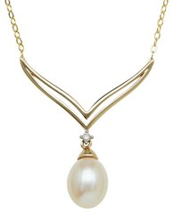 Lord And Taylor 14Kt. Yellow Gold Fresh Water Pearl Necklace With Diamond Accent Pearl Gold