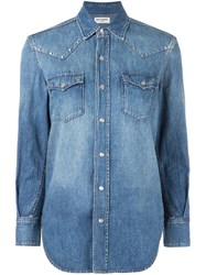Saint Laurent Studded Western Shirt Blue