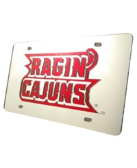 Stockdale Louisiana Lafayette Ragin' Cajuns Laser Tag License Plate Silver Red