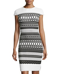Julia Jordan Rio Dot Pattern Cap Sleeve Dress Black White