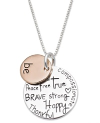 Macy's Inspirational Sterling Silver And 14K Rose Gold Over Sterling Silver Necklace 'Be.' Pendant