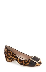 Louise Et Cie Women's 'Brianna' Genuine Calf Hair Buckle Toe Pump Retro Leopard Calf Hair