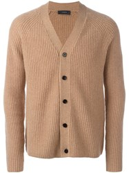 Joseph Ribbed Button Down Cardigan Brown
