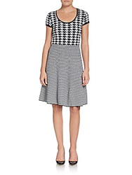 Saks Fifth Avenue Black Houndstooth Fit And Flare Dress Black White