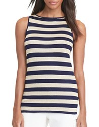 Lauren Ralph Lauren Metallic Striped Tank Top Navy