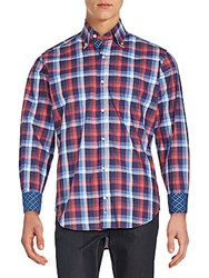 Tailorbyrd Lake Hartwell Plaid Button Down Shirt Coral