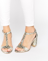 Faith Dibs Snake Effect Barely There Mid Heeled Sandals Beigesnake