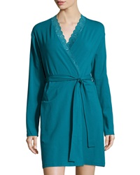 Cosabella Never Say Never Lace Trim Short Wrap Robe Blue Curac