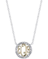 Unwritten Initial 'Q' Pendant Necklace With Crystal Pave Circle In Sterling Silver And Gold Flash Two Tone