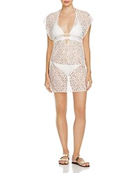 Becca By Rebecca Virtue Amore Lace Tunic Swim Cover Up White