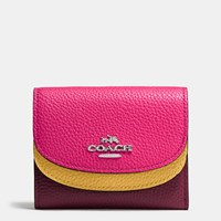 Coach Double Flap Small Wallet In Colorblock Leather Silver Burgundy Multi
