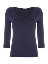 Crea Concept Basic 3 4 Sleeve Top Navy