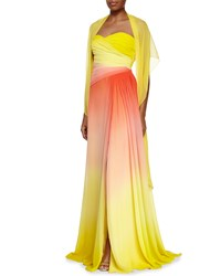 Monique Lhuillier Strapless Sweetheart Ombre Gown Sun