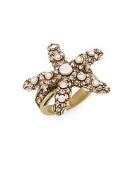 Heidi Daus Sea Ing Stars Swarovski Crystal Starfish Ring Gold Pink