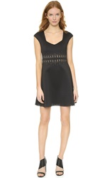 Clover Canyon Laser Cut Cap Sleeve Dress Black