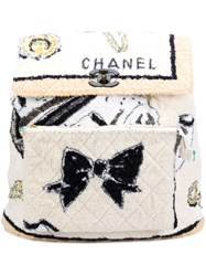 Chanel Vintage Extra Large Terry Backpack White