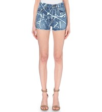 Saint Laurent Acid Wash Denim Shorts Blue Punk Wash