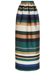 Rosetta Getty Colour Block Satin Column Skirt Green