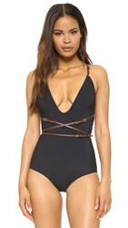 Michael Kors Low Neck Belted Maillot Black
