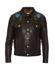 Gucci Hand Painted Studded Leather Jacket Black Multi