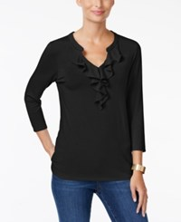 Charter Club Ruffled Split Neck Top Only At Macy's Deep Black