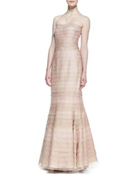 Kay J's By Kay Unger Strapless Tiered Lace Gown Blush