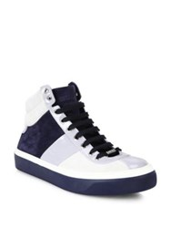 Jimmy Choo Colorblock Calf Suede Sneakers White Blue
