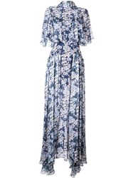 Temperley London Floral Print Neck Tie Gown Blue
