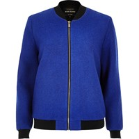 River Island Womens Blue Ribbed Wool Bomber Jacket