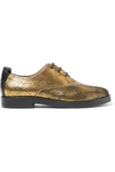 Maison Martin Margiela Mm6 Metallic Brushed Suede Brogues Gold