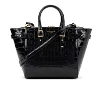 Aspinal Of London Women's Marylebone Medium Croc Tote Black Croc
