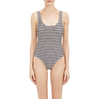 Solid And Striped One Piece Anne Marie Swimsuit Wht.Andblk.