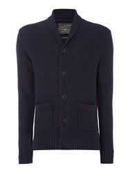 Jack And Jones Men's Button Through Cotton Blend Knitted Cardigan Navy