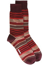 Missoni Mixed Stripe Socks Red