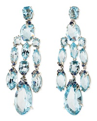 Alexis Bittar Fine Blue Topaz Quartz Sapphire And Diamond Chandelier Earrings