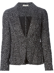 Nina Ricci Pleated Back Printed Blazer Black
