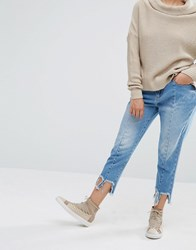 Daisy Street Reconstructed Jeans With Frayed Hems Light Blue Wash