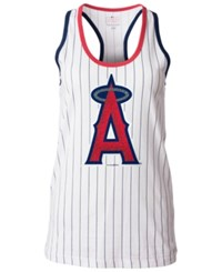 5Th And Ocean Women's Los Angeles Angels Of Anaheim Pinstripe Glitter Tank Top White