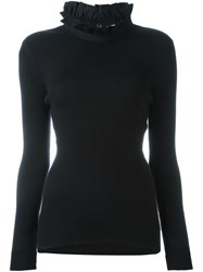 Fendi Ruffled Collar Jumper Black